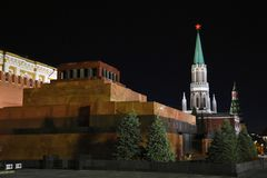 Tower of Moscow Kremlin at night stock photo