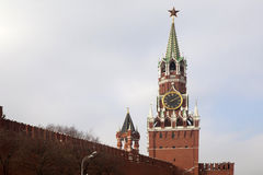 Tower of Moscow Kremlin in winter time, Russia. Royalty Free Stock Image