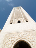 Tower of mosque in Casablanca. Blue sky summer day Royalty Free Stock Photography