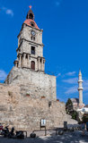 Tower and Mosque Rhodes Island Greece Stock Images