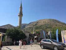 Tower in mostar. Mosque tower in mostar Bosnia and Herzegovina Stock Photo