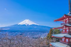 Tower and Mount Fuji royalty free stock photos