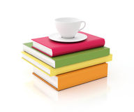 Tower of multicolored books with cup on the top, isolated on white background Stock Photo