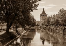 Tower near the channel, sepia, Targu Mures, Romania. Europe Stock Photography