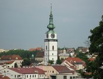 Tower near the church of St. Martin in Trebic Stock Photos