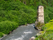 Tower near the river in Svaneti Stock Photo