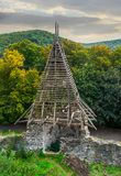 Tower of Nevitsky castle. View from above. forest and mountains in the distance royalty free stock photos