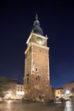 Tower at night in Krakow, Poland Stock Photo