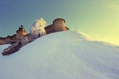 Tower of Nizhny Novgorod kremlin, Russia. Nizhny Novgorod in the winter stock photo
