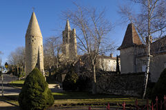Tower and Notredame des Miracle, Avignonet-Lauragais, Midi Pyren Stock Images