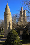 Tower and Notredame des Miracle, Avignonet-Lauragais, Midi Pyrenees, France Royalty Free Stock Photo