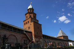 Tower of the Novgorod Kremlin, Historic Monuments of Novgorod and Surroundings,Russia. Tower of the Novgorod Kremlin, Historic Monuments of Novgorod and Royalty Free Stock Photography