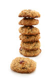 Tower from oaten cookies. On the white background Stock Image