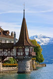 Tower of the Oberhofen castle. On the lake of Thun (Switzerland Royalty Free Stock Images