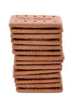 Tower Of Chocolate Biscuits Over White Stock Images