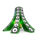 Tower Of Green Sound Boxes Stock Images