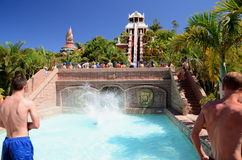 Free Tower Of Power Slide In Siam Park In Costa Adeje On Tenerife Stock Image - 61578291
