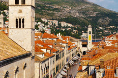 Free Tower Of The Franciscan Monastery Or Church Of The Small Brotherhood On Stradun Street In Dubrovnik, Croatia Royalty Free Stock Image - 91310356