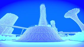 Tower office. Concept future city skyline. Futuristic business vision concept. 3d illustration. Royalty Free Stock Photos