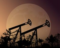 Tower oil production. Night background. Tower oil production. Night background vector illustration. Big moon in the sky. The trees and the forest royalty free illustration