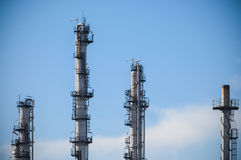 Tower of oil refinery Royalty Free Stock Images