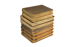 Tower of old books. Isolated on a white background stock image