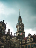 Tower of old building in Dresden, Germany. Tower of ancient old building in Dresden, Germany Royalty Free Stock Photography