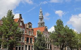 Tower of the Old Church in Amsterdam, Holland Stock Images