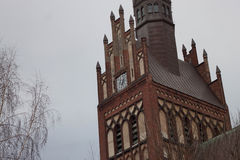 Tower of the old church of Jesus' Heart  in Gdansk. Poland Royalty Free Stock Image