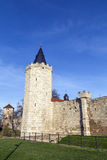 Tower of old city wall in Muehlheim. Under blue sky Stock Photos