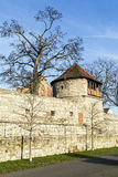 Tower of old city wall in Muehlheim. Under blue sky Royalty Free Stock Images