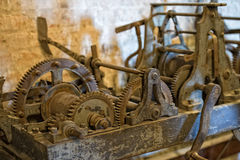 Tower old clock parts Royalty Free Stock Image