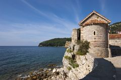 Tower of old fortress in Budva Royalty Free Stock Images