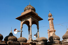 Tower with old megaphones on the roof of mosque Royalty Free Stock Images
