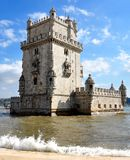 Tower old monument near tejo river stock images