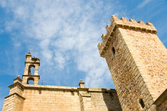Tower of the old quarter of Caceres stock image