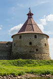 Tower of the old Russian fortress  Oreshek Royalty Free Stock Image