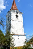 Tower of old saxon evanghelic church in Halmeag (Transylvania) Royalty Free Stock Images