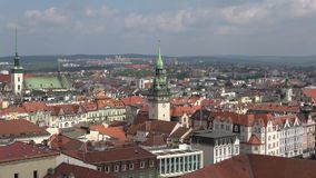 The tower of the old town Hall in the city panorama. Brno, Czech Republic. The tower of the old town Hall in the city panorama, April Sunny day. Brno, Czech stock video footage