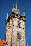 The tower of the old town hall in Prague. Royalty Free Stock Photos