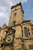 Tower of Old Town Hall in Prague. Tower of Old Town Hall on Old Town Square of Prague, astronomical clock and famous landmark sightseen for most tourists Stock Photos