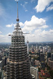 Tower one of Petronas Twin Towers in Kuala Lumpur. KUALA LUMPUR, MALAYSIA - 18TH FEBRUARY 2015:Petronas Twin Towers on February 2015 in Kuala Lumpur, Malaysia Royalty Free Stock Images