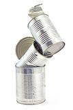 Tower of open empty tin can Stock Photo