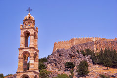 Tower of the Orthodox Church and of the walls of the fortress Stock Photography