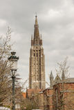 Tower of Our Lady Church - Brugge, Belgium. Royalty Free Stock Images