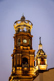 Tower of Our Lady of Guadalupe church at night - Puerto Vallarta, Jalisco, Mexico. Tower of Our Lady of Guadalupe church at night in Puerto Vallarta, Jalisco royalty free stock photography