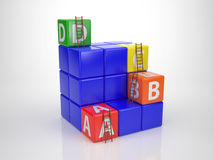 Tower out of Letter Dices - Reach your Goal Stock Photography