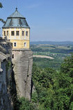 Tower over elbe, konigstein. Baroque tower of the ancient fortress on a cliff that views over elbe valley Stock Photography