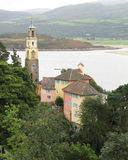 Tower overlooking estuary in Portmeirion Royalty Free Stock Images