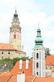 Tower of palace in Cesky Krumlov stock image